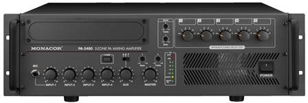 Amplificateur-Mixeur 5 zones Public Adress mono Monacor PA-5480