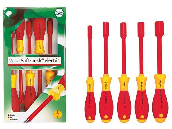 Wiha - jeu de tournevis à douille six pans softfinish® electric, 5 pcs