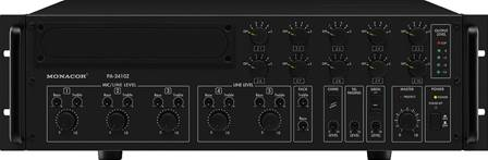 Amplificateur mixeur mono Public Adress 10 zones Monacor PA-2410Z