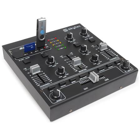 SkyTec TM-2250 Mini table de mixage 4 canaux USB MP3 Effets Sound