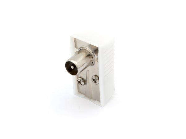 Fiche coax male coudee 9.5mm/2.3mm - blanc
