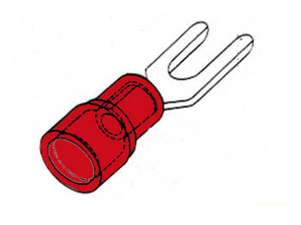 Cosse a fourche 3.7mm - rouge
