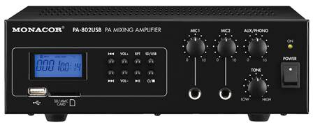 Amplificateur-Mixeur Public Adress mono Monacor PA-802USB