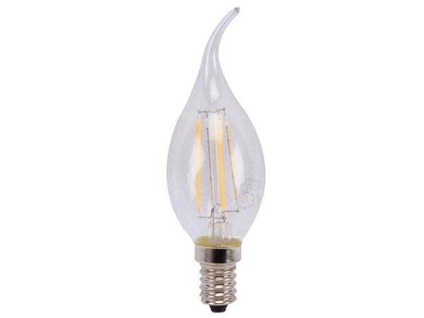 Ampoule à filament led - flamme courbée - 5 w - e14 - blanc chaud